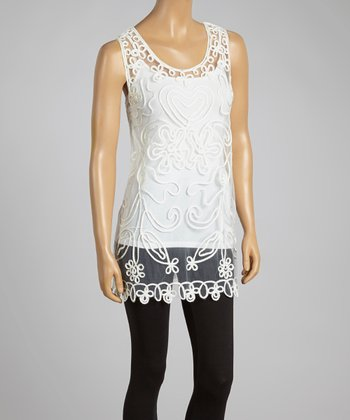 White Sheer Embroidered Silk-Blend Top