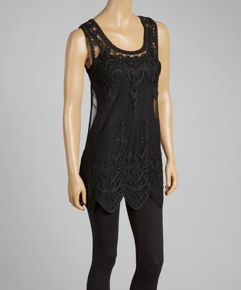 Black Sheer Art Deco Silk-Blend Top
