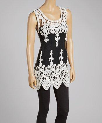 White & Black Sheer Art Deco Silk-Blend Top