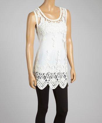 White Sheer Art Deco Silk-Blend Top
