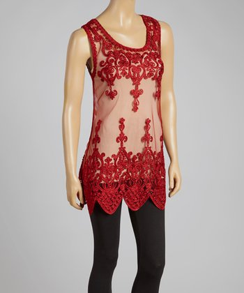 Dark Red Sheer Art Deco Silk-Blend Top