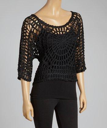 Black Open-Crochet Silk-Blend Top