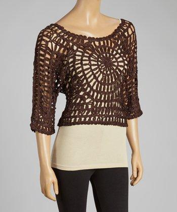 Coffee Open-Crochet Silk-Blend Top