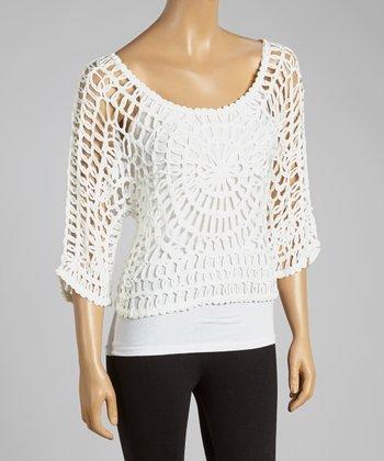 White Open-Crochet Silk-Blend Top