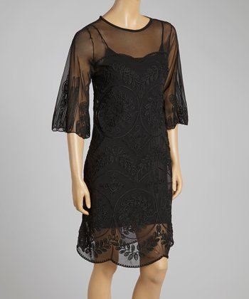 Black Embroidered Silk-Blend Shift Dress