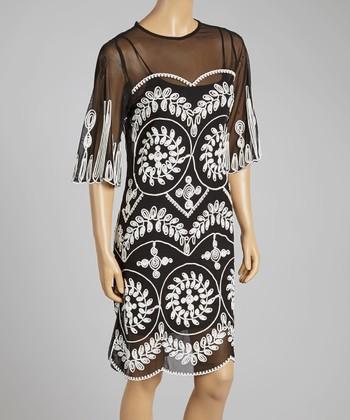 Black & White Embroidered Silk-Blend Shift Dress