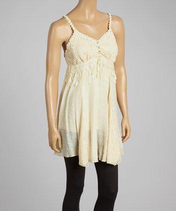 Caramel Lace Linen-Blend Sleeveless Tunic