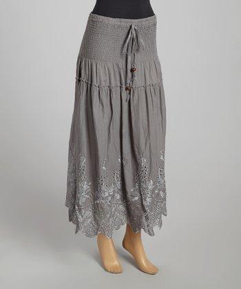 Gray Smocked Linen-Blend Skirt