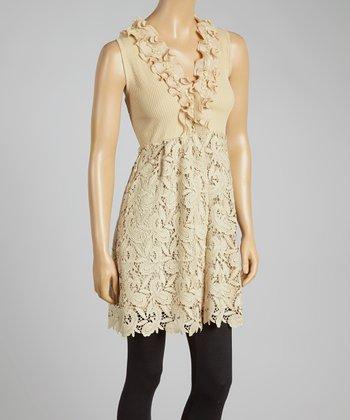 Brown Paisley Crochet Empire-Waist Top