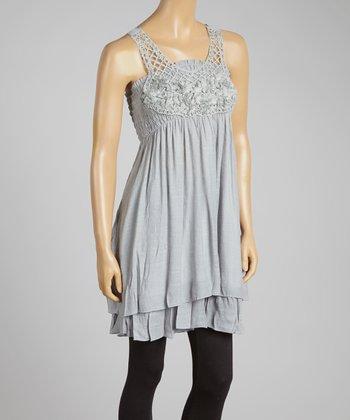 Gray Crochet-Overlay Linen-Blend Sleeveless Tunic