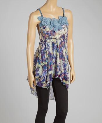 Blue & Caramel Hi-Low Silk-Blend Sleeveless Tunic
