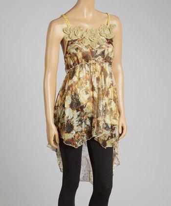 Caramel & Black Hi-Low Silk-Blend Sleeveless Tunic