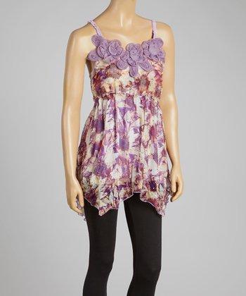 Purple & Caramel Hi-Low Silk-Blend Sleeveless Tunic