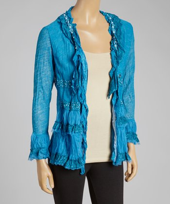 Turquoise Lace-Up Linen-Blend Top