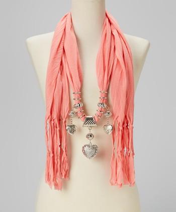 Light Orange Heart Charm Silk-Blend Scarf