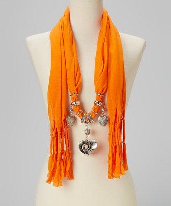 Orange Heart Charm Silk-Blend Scarf