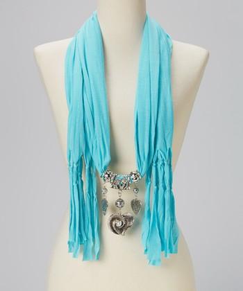 Aqua Heart Charm Silk-Blend Scarf