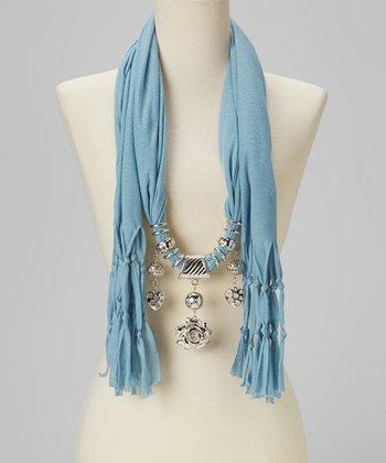 Aqua Charm Silk-Blend Scarf