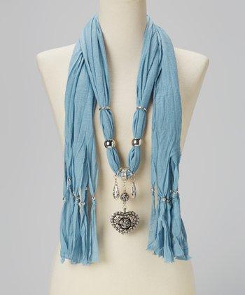 Aqua Heart Pendant Silk-Blend Scarf