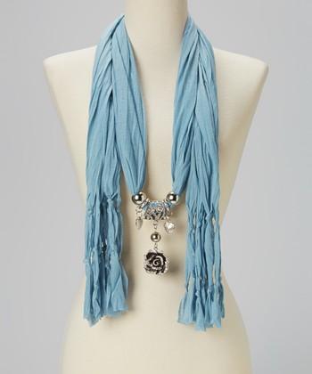 Aqua Rose Pendant Silk-Blend Scarf