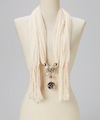 Caramel Rose Pendant Silk-Blend Scarf