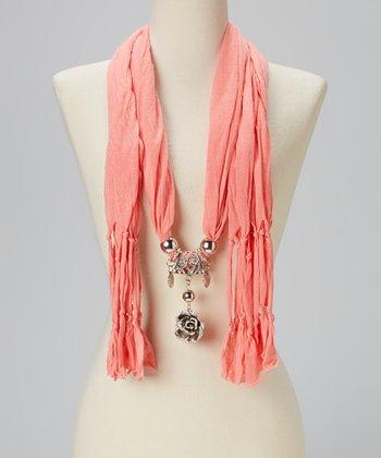 Light Orange Rose Pendant Silk-Blend Scarf