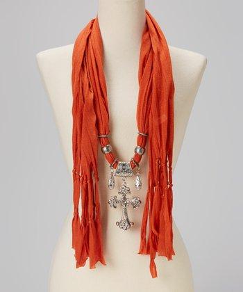 Rust Maltese Pendant Silk-Blend Scarf