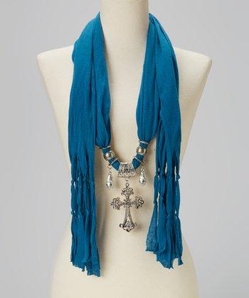 Turquoise Maltese Pendant Silk-Blend Scarf