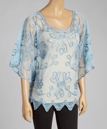 Blue Embroidered Silk-Blend Cape-Sleeve Top
