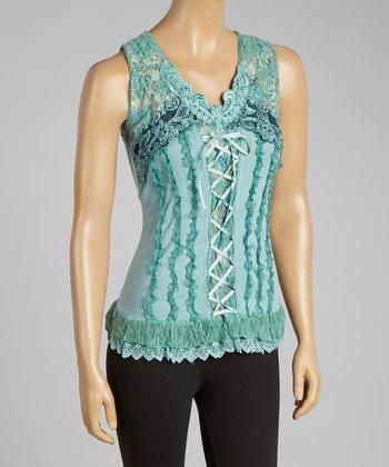 Aqua Lace-Up Silk-Blend Top
