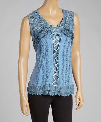 Blue Lace-Up Silk-Blend Top