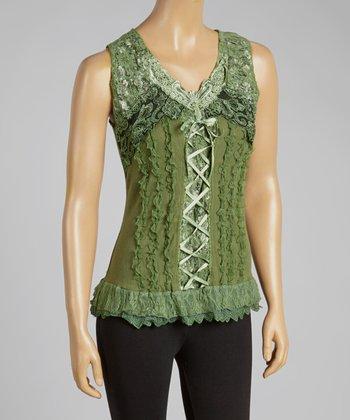 Green Lace-Up Silk-Blend Top
