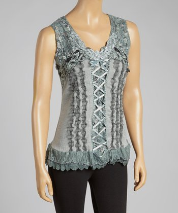 Gray Lace-Up Silk-Blend Top