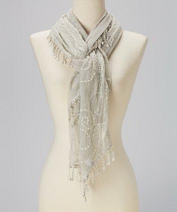 Gray Crochet Tassel Linen-Blend Scarf