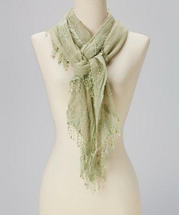 Light Green Crochet Tassel Linen-Blend Scarf