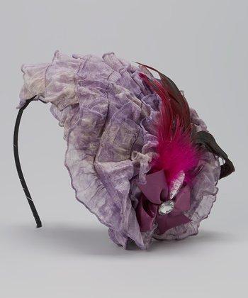 Purple & Caramel Feather Fascinator