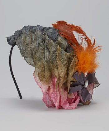 Gray & Pink Feather Fascinator