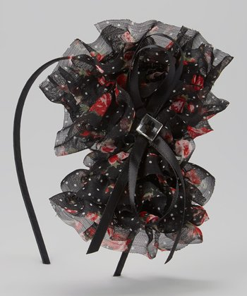 Red & Black Bow Fascinator