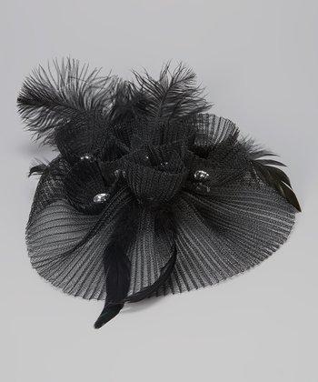 Black Sheer Mesh Fascinator Clip