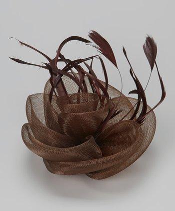 Coffee Feather Fascinator Clip