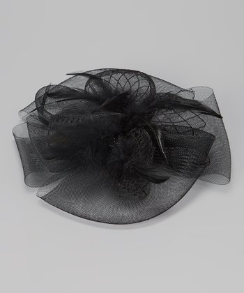 Black Feather Bow Fascinator Clip