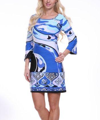 Blue & White Wave Scoop Neck Dress