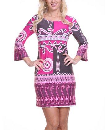 Burgundy & Purple Abstract Scoop Neck Dress