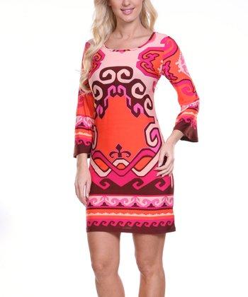 Pink & Burgundy Abstract Fleur-de-Lis Scoop Neck Dress