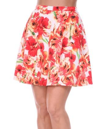 Red & Orange Rose A-Line Skirt