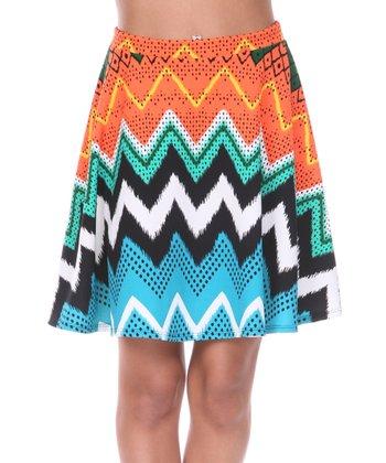 Orange & Green Zigzag A-Line Skirt