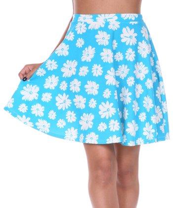 Light Blue & White Daisy A-Line Skirt
