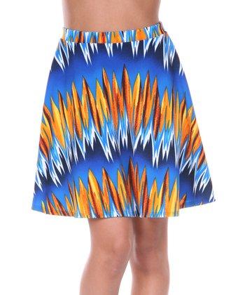 Royal Blue & Orange Zigzag A-Line Skirt