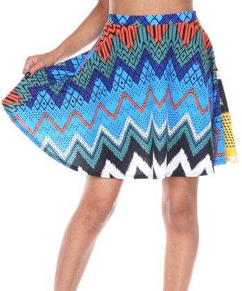 Blue & Green Zigzag A-Line Skirt