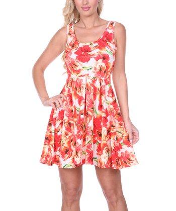 Red & Orange Rose Pleated Sleeveless Dress
